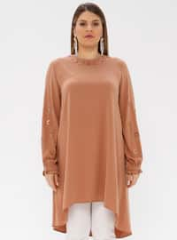 Tan - Crew neck - Plus Size Tunic