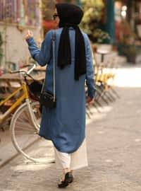 Blue - Point Collar -  - Plus Size Tunic