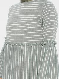 Green - Stripe - Crew neck - Unlined - Cotton - Dress