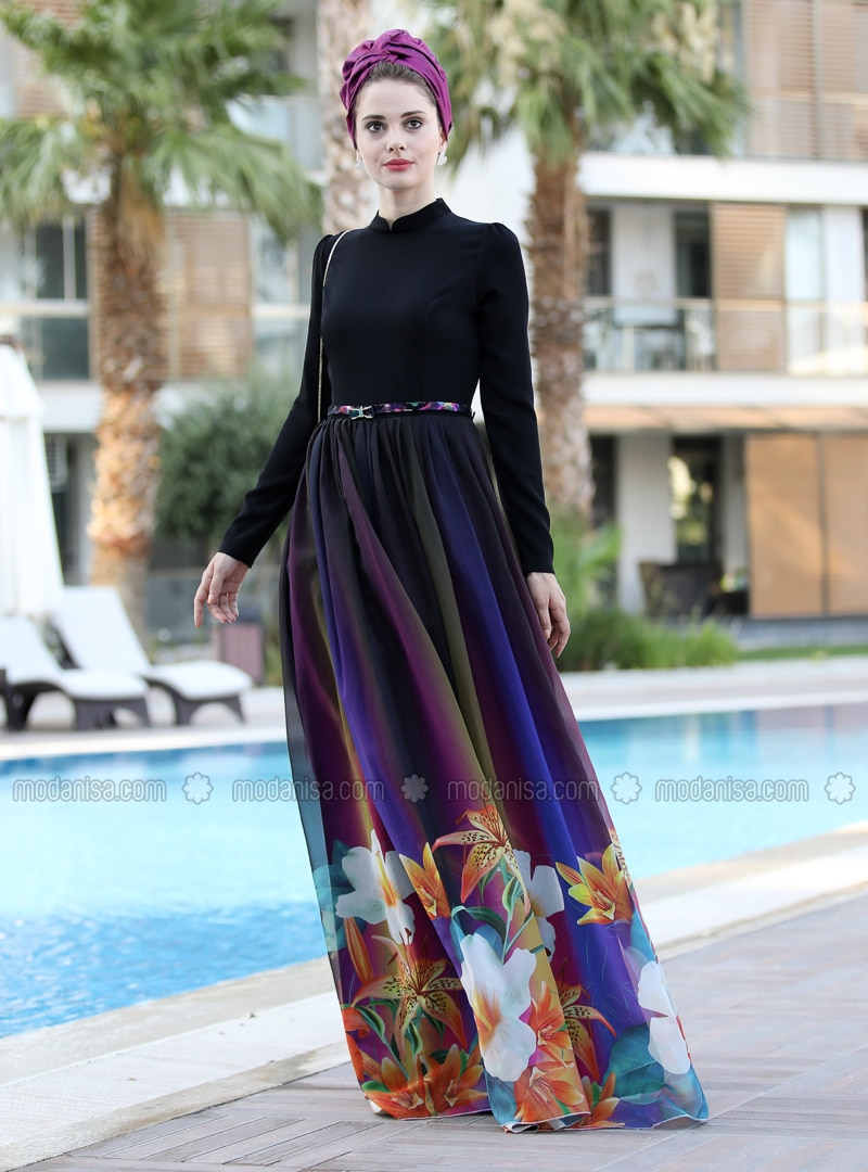 Black - Multi - Floral - Crew neck - Fully Lined - Dress
