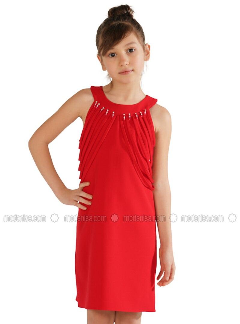 Crew neck - Red - Girls` Dress
