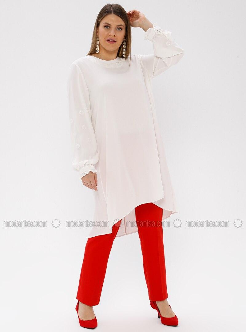 White - Ecru - Crew neck - Plus Size Tunic