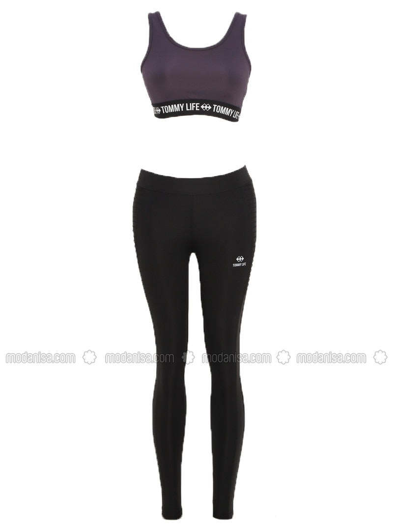 Purple - Black - Crew neck - Tracksuit Set