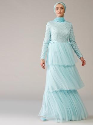 Mint - Unlined - Crew neck - Muslim Evening Dress