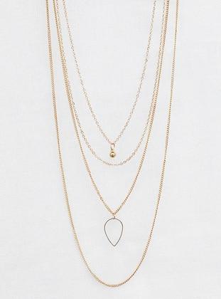 Gold - Necklace - Takıştır Bijuteri