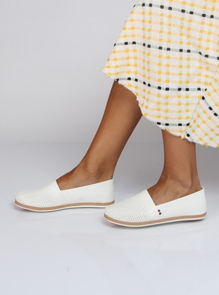 White - Ecru - Flat - Flat Shoes