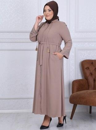 Beige - Crew neck - Unlined - Crepe - Plus Size Abaya