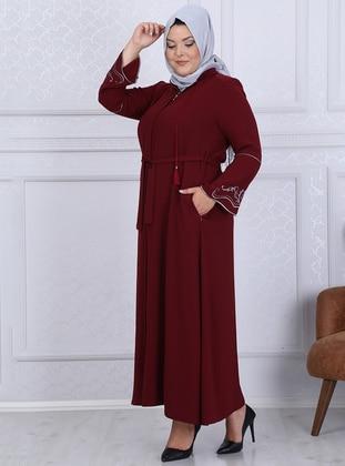 Maroon - Crew neck - Unlined - Crepe - Plus Size Abaya