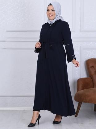 Navy Blue - Crew neck - Unlined - Crepe - Plus Size Abaya