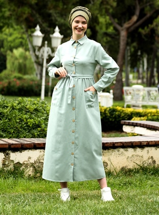 Sea-green - Point Collar - Unlined - Dress