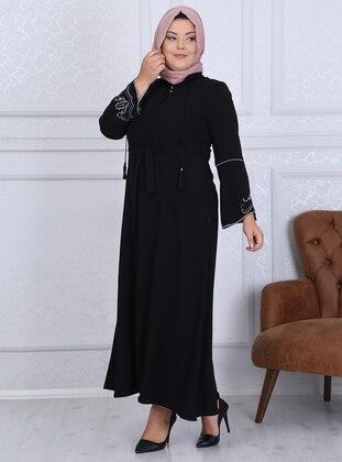 Black - Crew neck - Unlined - Crepe - Plus Size Abaya