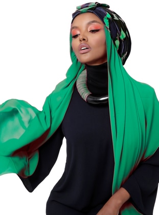 Green - Navy Blue - Printed - Instant Scarf