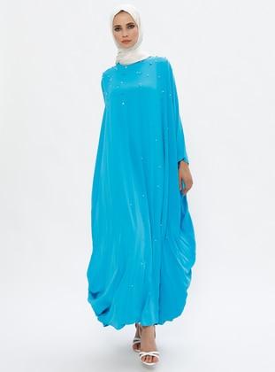 Turquoise - Unlined - Crew neck - Abaya