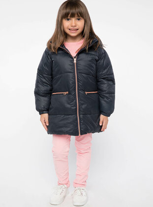 Navy Blue - Girls` Jacket - DeFacto