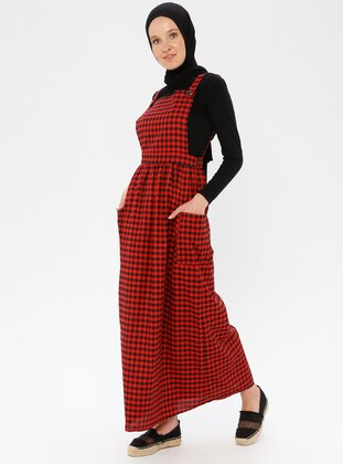 Red - Black - Checkered - Sweatheart Neckline - Unlined - Viscose - Dress