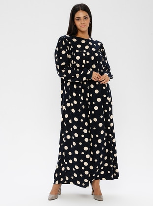 Navy Blue - Polka Dot - Unlined - Crew neck - Plus Size Dress