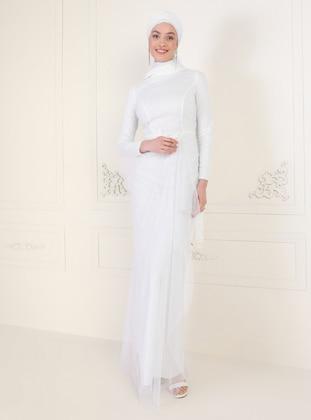 Ecru - Unlined - Crew neck - Muslim Evening Dress