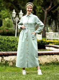 Pastel yeşili - Fransız yakalı - Astarsız kumaş - Elbise