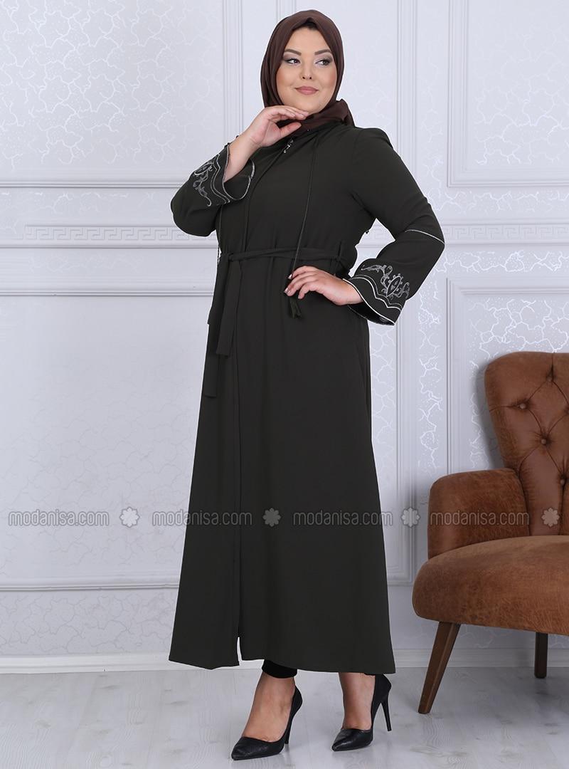 Khaki - Crew neck - Unlined - Crepe - Plus Size Abaya