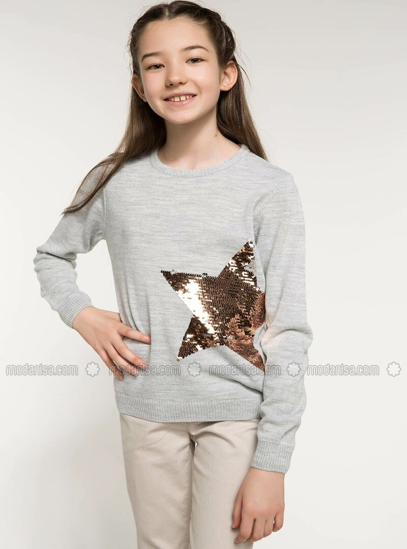 Gray - Girls` Pullovers