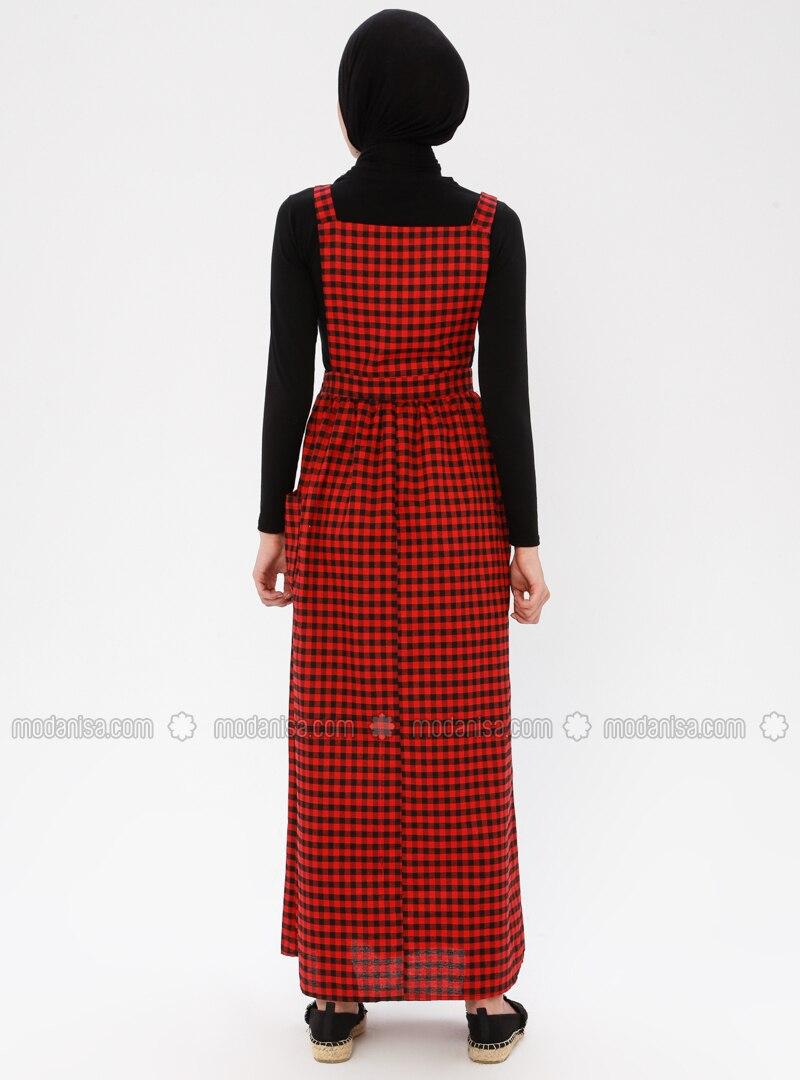 Rot - Schwarz - Kariert - Karree Ausschnitt - Ohne Innenfutter - Viskose -  Hijab Kleid