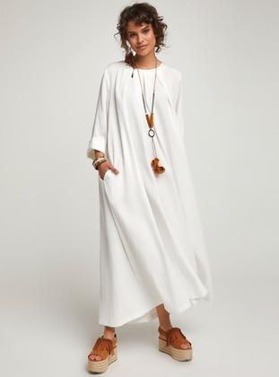 White - Crew neck - Unlined - Cotton - Dress