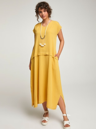 Yellow - Stripe - Ethnic - Unlined - Cotton - Dress