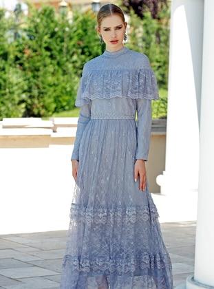 Gray - Polo neck - Fully Lined - Dress