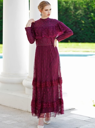 Plum - Polo neck - Fully Lined - Dress
