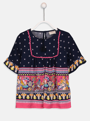 Printed - Navy Blue - Girls` Blouse - LC WAIKIKI