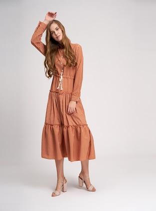 Terra Cotta - Stripe - Point Collar - Unlined - Viscose - Dress