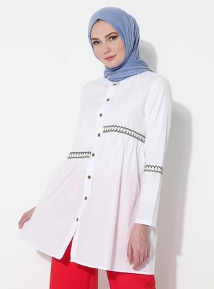 White - Ecru - Point Collar - Cotton - Tunic