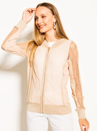 Camel - Crew neck -  Metal Thread - Viscose - Cardigan