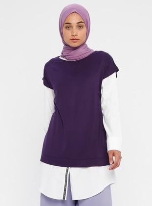 Purple - Unlined - Viscose - Suit