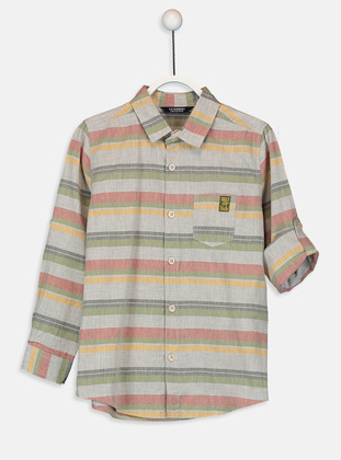 Stripe - Gray - Boys` Shirt