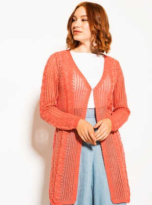 Coral - Shawl Collar - Acrylic -  Metal Thread - Cardigan