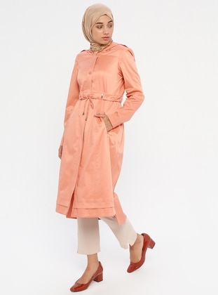 Salmon - Unlined - Crew neck - Topcoat