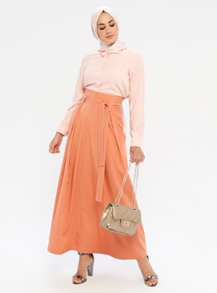 Salmon - Fully Lined - Viscose - Skirt