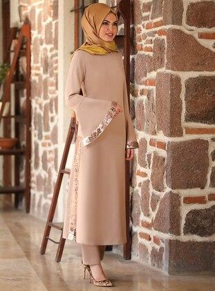 Beige - Unlined - Crepe - Plus Size Suit