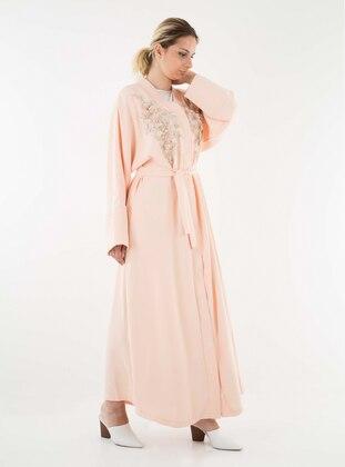 Pink - V neck Collar - Abaya