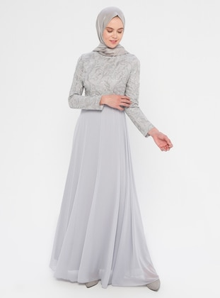Gray - Fully Lined - Crew neck -  - Muslim Evening Dress
