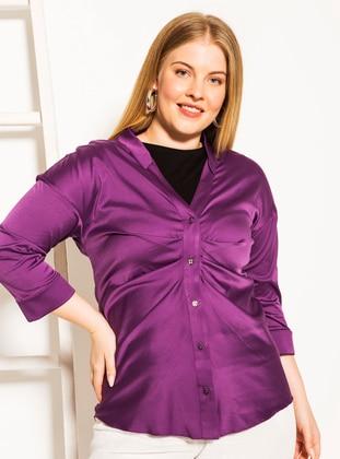 Purple - V neck Collar -  - Plus Size Blouse