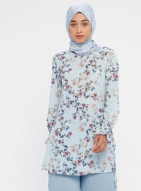 Blue - Floral - Crew neck - Tunic