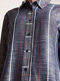 Navy Blue - Stripe - Round Collar - Viscose - Plus Size Blouse