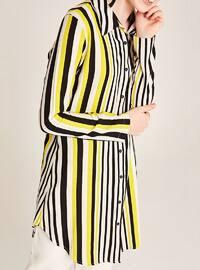 Yellow - Black - Stripe - Round Collar - Viscose - Plus Size Blouse