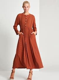 Brown - Crew neck - Unlined -  - Dress