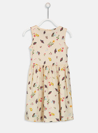 Printed - Beige - Girls` Dress