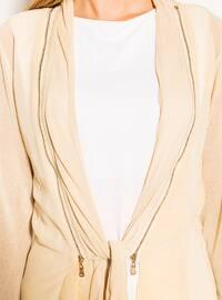 Camel - Shawl Collar - Viscose - Cardigan