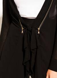 Black - Shawl Collar - Viscose - Cardigan
