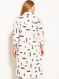 White - Multi - Button Collar - Point Collar -  - Plus Size Blouse